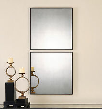 """Two Urban Industrial 24"""" Aged Metal Frame Matty Square Mirrors 13932 Uttermost"""
