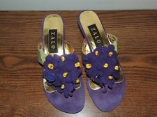 Purple Suede Violet FLower Sandals / Thongs by ZARA sz 6 1/2