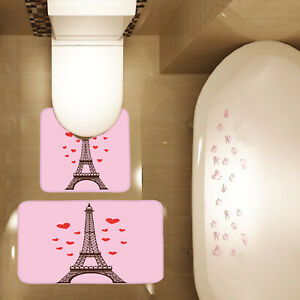 2 Piece Bathroom Mat Set Love Red Hearts Paris Tower Print Bath Mat Contour Mat