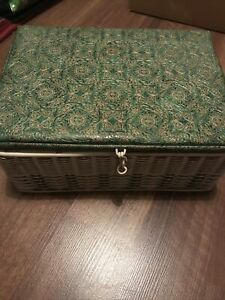 Vintage Beautiful Old Sewing Box Basket Green Gold Woven Mid Century