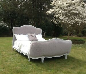 VINTAGE FRENCH DOUBLE BED FRAME - DEMI CORBEILLE  - GREY - WHITE - STUNNING BED