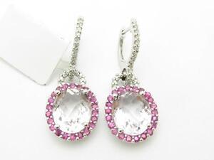 14k White Gold & Diamonds Pink Amethyst Halo Design Oval Cut Chandelier Earrings