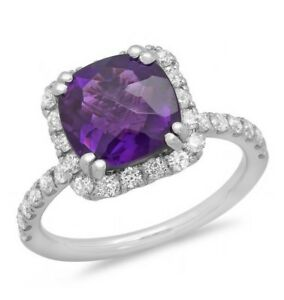 Certified  5.25cttw Amethyst 0.75cttw Diamond 14KT White Gold Ring