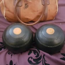 2 Brown Vintage 1963 Wooden lawn Bowls jacques of london including carry bag