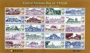 National Vesak day 2017 Buddha, Buddhism, Mini-Sheet  Sri lanka MHN
