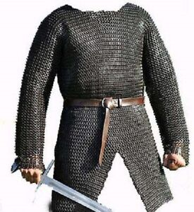 Flat Riveted With Flat Warser Chainmail shirt 10 mm Medium Size full sleeve Hube
