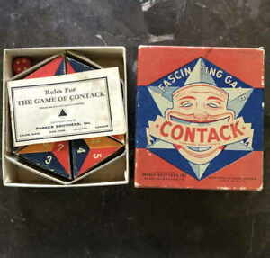 1939 Vintage Contack Strategy Game Parker Brothers Triangular Dominoes Complete