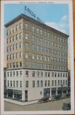 1920 Postcard: Cregg Building & Cars-Lawrence, Mass, Ma