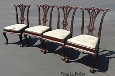 Four Vintage Chippendale French Provincial Ornately Carved Wood Dining Chairs