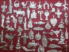 100 Silver Mexican Folk Art Milagros Charms Exvoto Nicho Retablo Charms Lot