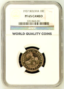 Republic of Bolivia 1937 Proof Coin 10 Centavos NGC PF65