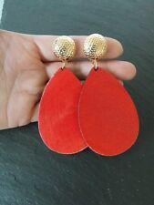 Red Wooden Clip-On Drop Earrings -UK SELLER
