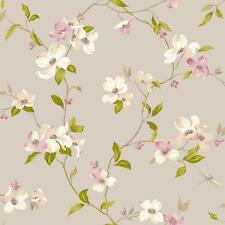 WALLPAPER BY THE YARD AK7430 Dogwood Floral Blooms Gold Pink White Wallpaper