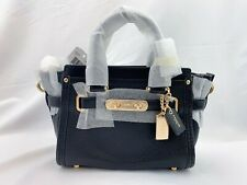 NWT Coach Swagger 20 Pebble Leather Satchel Crossbody 36235 black/Gold