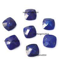Lot of 10 Pic. Lapis Lazuli 9X9 M.M. Cushion Normal Cut Faceted Loose Gemstones