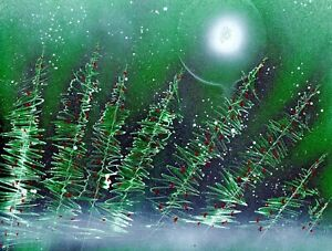 Painting of a Winter Wonderland with Berry Filled Bushes by Artist Jason Girard