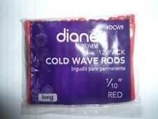 """Diane 1/10"""" Cold Wave Rods Curlers Hair Perm #DCW9 12-pieces - Red - Long"""