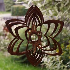 Edelrost Windspiel Spirale Blüte eckig D22 cm Gartendekoration