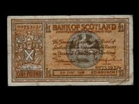 Scotland:P-91b,1 Pound,1939 * Medallion * Bank Of Scotland * VF *
