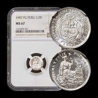 1907 Peru 1/2 Dinero (Silver) - NGC MS67 (Superb Gem UNC) - Die Clash