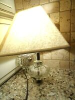 Vintage Electric Wall Sconce Clear Glass Lamp w. Shade-Round Hobnail-Bulbous