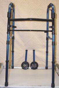 Medline Blue Compact Folding Paddle Walker with Wheels MDS86410KDBW   M4541