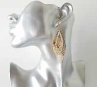 Gorgeous 7cm long gold tone & diamante double layered oval shaped drop earrings