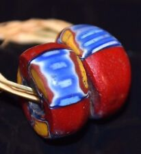 Antique Venetian Red Millefiori Trade Beads W/ Longitudinally Laid Cane Inserts