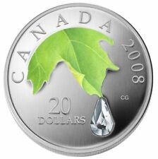 Canada 2008 $20 silver Crystal Raindrop Maple Leaf coin