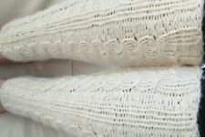 Cream mohair blend  Hand Knit Leg Warmers,thick Cables Long Cuffs.Hight 16 inch