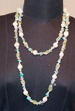 Turquoise and Quartz 122cm Long Unusual Vintage Necklace Pearls, Jade,