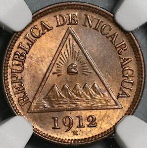 1912-H NGC MS 64 RB Nicaragua 1/2 Centavo Volcanos Coin POP 2/1 (21040403D)
