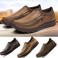 Mens Summer Leather Casual Shoes Breathable Antiskid Loafers Anti-slip Moccasins