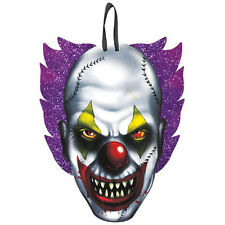 "11.5"" Halloween Horror Scary Circus Clown Hanging Cutout Decoration Glitter Sign"