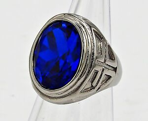 MEN RING BLUE SAPPHIRE STAINLESS STEEL SILVER MEDIEVAL BISHOP CROSS SIZE 12 g