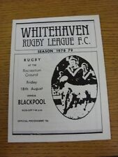 18/08/1978 Rugby League Programme: Whitehaven v Blackpool Borough