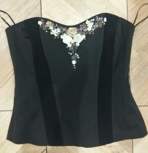 Tailored By Next Petite Women Black Beaded Floral Lined Corset Top Size 8