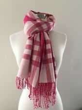 AUTHENTIC BURBERRY SHIMMERY PINK NOVA CHECK WOOL BLEND SCARF MUFFLER SHAWL RARE!