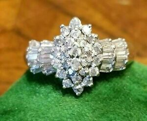 5.74Ct Marquise Cut Diamond Cluster Engagement Wedding Ring 14K Yellow Gold Over