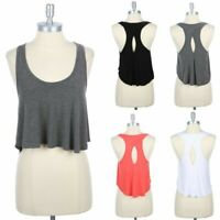 High Low Hem Solid Tank Top with Keyhole Back Flared Casual Scoop Neck S M L