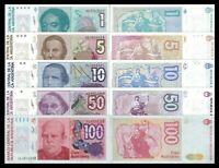 ARGENTINA SET 5 pcs 1+5+10+50+100 Australes UNC