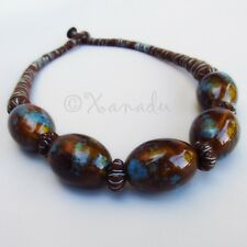 Brown Turquoise Porcelain Necklace With Eclectic Brown Cotton Thread Details
