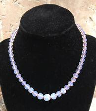 Vintage Opaline Moonstone Vaseline Glass Bead Necklace Brass Clasp Graduated