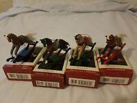 Lot 4 Hallmark Keepsake Ornament '93, '94, 95, & '96 Rocking Horses In Boxes