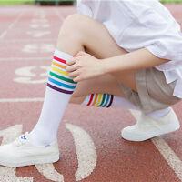 Pair Thigh High Socks Over Knee Colorful Stripe Girls Football Socks Black White