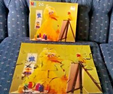 Big Bird 24 Piece Puzzle Complete Muppet Painting Easel 1987 Sesame Street