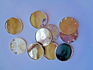 10 x Schmuckanhänger rund Metall 38 mm silberfarben mit Wanne Epoxy 214