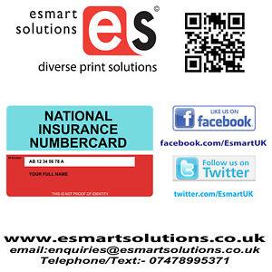 National Insurance card - Custom Printed