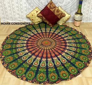 Peacock Mandala Design Big Roundie 72 Inches Cotton Fabric Handmade Beautiful