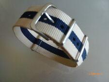 Relojes pulsera nailon 24 mm beige azul beige otan banda hebilla textil
